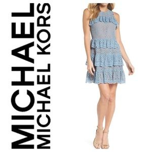 New Michael Michael Kors Tiered Lace Dress Blue M